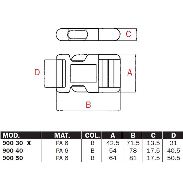 """Steckschnalle Steckschließe Blitzverschluss /""""900/"""" für 40mm Gurtband"""