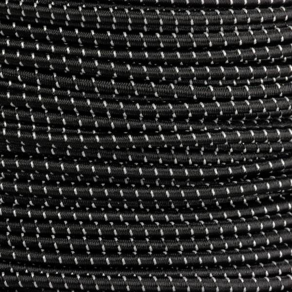 Rollenware Gummikordel - Hutgummi - Rundgummi, hochwertig, extra-stark in 3mm, Reflektor schwarz