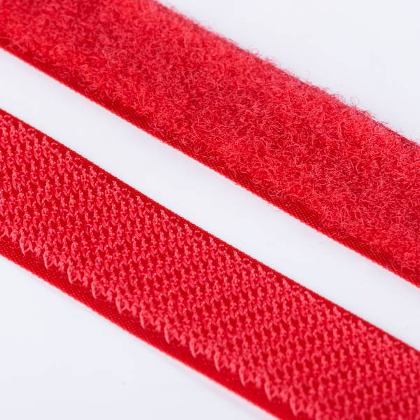 Klettband Haken+Flausch , hochwertig zum Aufnähen 25mm rot