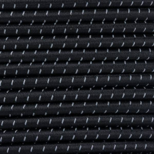 Gummikordel - Hutgummi - Rundgummi, hochwertig, extra-stark in 4mm, Reflektor schwarz
