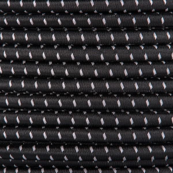 Gummikordel - Hutgummi - Rundgummi, hochwertig, extra-stark in 5mm, Reflektor schwarz